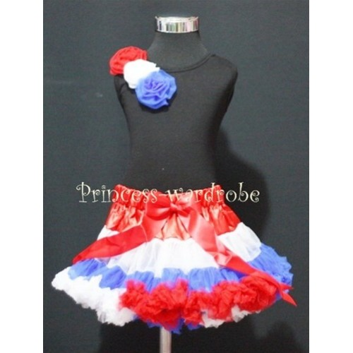 Black Tank Top & Oblique Red White Blue Rosettes With Red White Blue Pettiskirt M174
