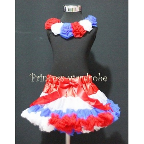 Black Tank Top & Red White Blue Rosettes With Red White Blue Mix Pettiskirt M178
