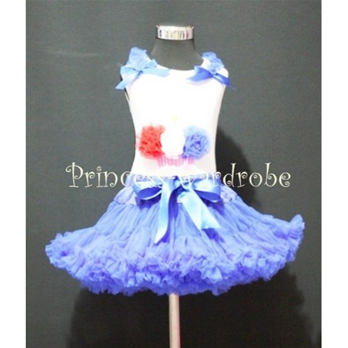Royal Blue Pettiskirt With White Tank Top with Red White Royal Blue Rosettes Birthday Cake With Royal Blue Ruffles&Bow ML28