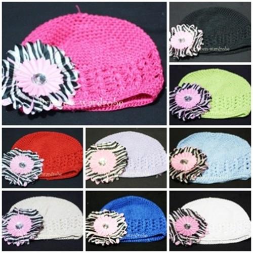 Crochet Beanie Hat with Light Pink Zebra Crystal Daisy Flower pettiskirt Tutu P000251