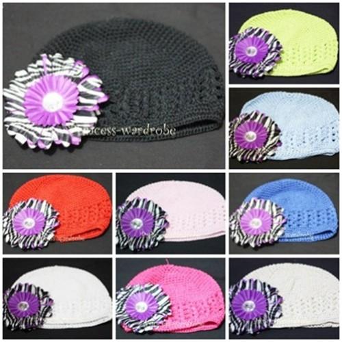 Crochet Beanie Hat with Dark Purple Zebra Crystal Daisy Flower pettiskirt Tutu P000252