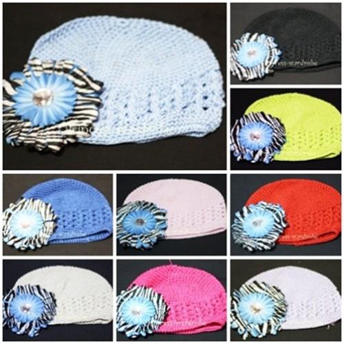 Crochet Beanie Hat with Blue Zebra Crystal Daisy Flower pettiskirt Tutu P000254
