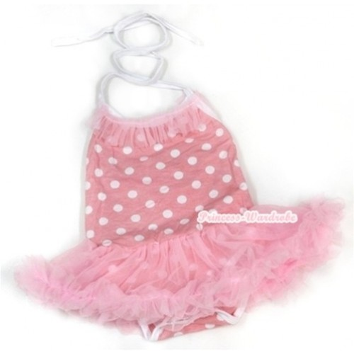 Light Pink White Dots Baby Halter Jumpsuit Light Pink Pettiskirt With Light Pink Chiffon Lacing JS966