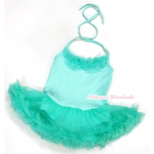 Aqua Blue Baby Halter Jumpsuit Aqua Blue Pettiskirt With Aqua Blue Chiffon Lacing JS967