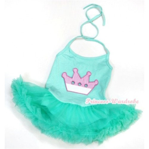 Aqua Blue Baby Halter Jumpsuit Aqua Blue Pettiskirt With Crown Print JS981