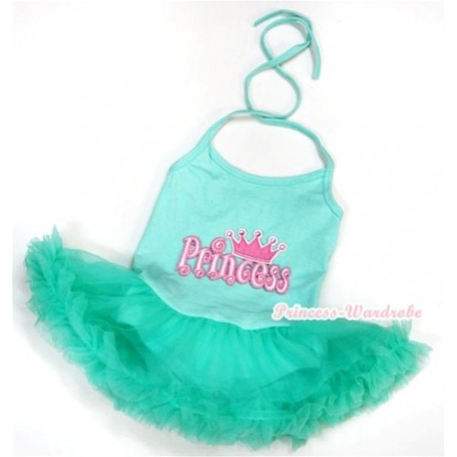 Aqua Blue Baby Halter Jumpsuit Aqua Blue Pettiskirt With Princess Print JS982