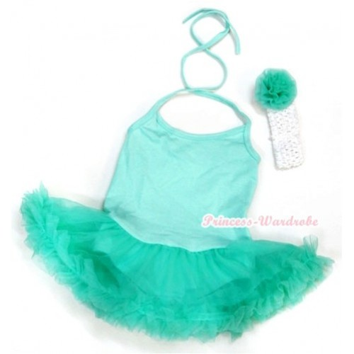 Aqua Blue Baby Halter Jumpsuit Aqua Blue Pettiskirt With White Headband Aqua Blue Rose JS992