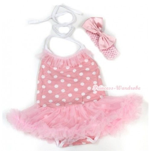 Light Pink White Dots Baby Halter Jumpsuit Light Pink Pettiskirt With Light Pink Chiffon Lacing With Light Pink Headband Light Pink Satin Bow JS1000