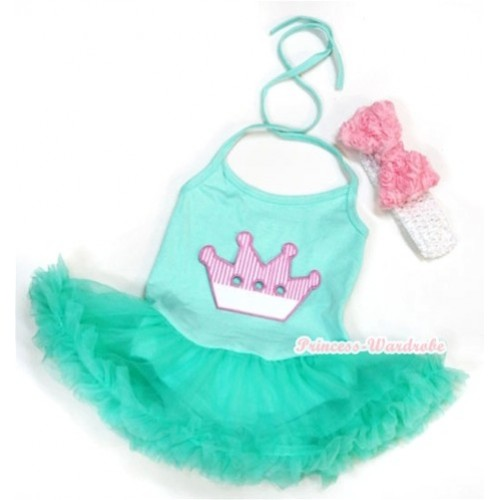 Aqua Blue Baby Halter Jumpsuit Aqua Blue Pettiskirt With Crown Print With White Headband Light Pink Romantic Rose Bow JS1015