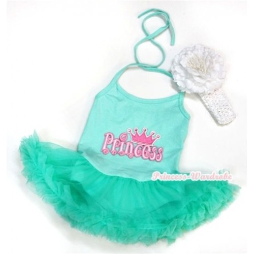 Aqua Blue Baby Halter Jumpsuit Aqua Blue Pettiskirt With Princess Print With White Headband White Peony JS1016