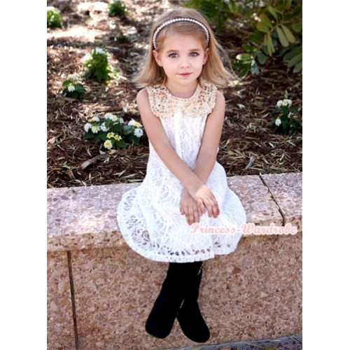 White Floral Lace Pattern Gold Sparkle Sequin Necklace White Giant Bow One Piece Wedding Party Dress PD041