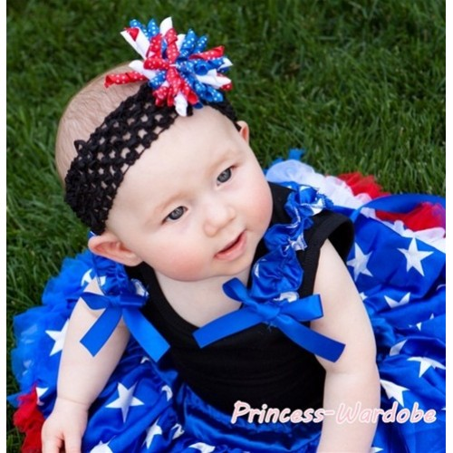 Black Tank Top with Blue Star Ruffles Royal Blue Bows T344