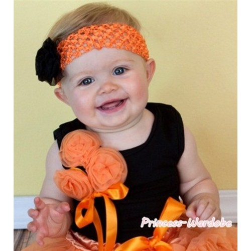 Black Tank Top with Bunch of Orange Rosettes and Orange Bow TB87