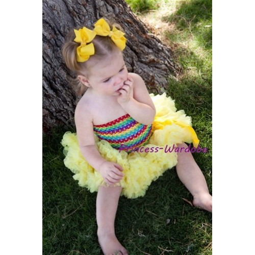 Rainbow Crochet Tube Top with Yellow Baby Pettiskirt CT95