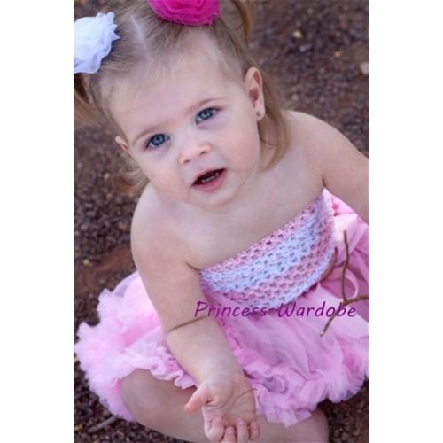 Light Pink White Crochet Tube Top with Light Pink Baby Pettiskirt CT97