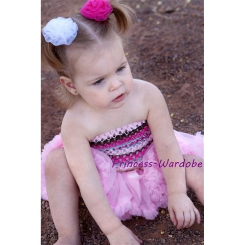 Light Pink Fusion Mixed Crochet Tube Top with Light Pink Baby Pettiskirt CT98