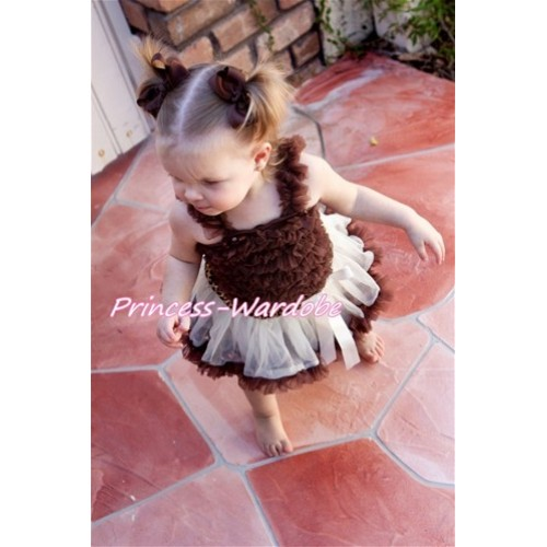 Brown Baby Ruffles Tank Top with Cream White Leopaed Waist Pettiskirt NR08