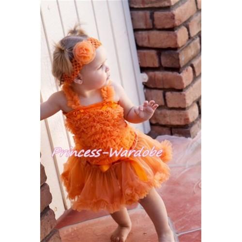 Orange Baby Ruffles Tank Top with Orange Baby Pettiskirt NR09