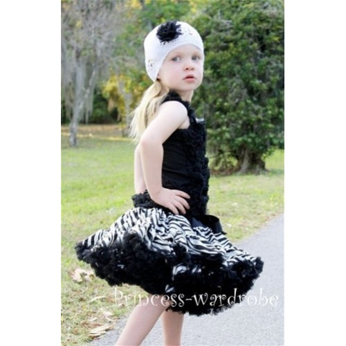 Black Zebra Print Pettiskirt with Matching Black Ruffles Tank Tops MR61
