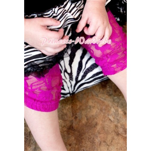 Hot Pink Flower Pattern See-through Lace Legging LG127