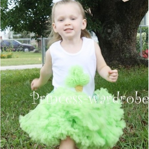 Light Green Pettiskirt With Light Green Ice Cream White Tank Top MS105