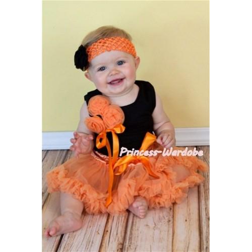 Black Baby Pettitop & Bunch of Orange Rosettes & Orange Ribbon with Orange Baby Pettiskirt NG401