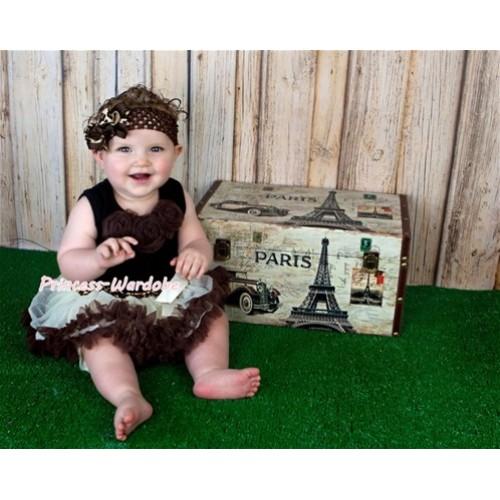 Black Newborn Pettitop With Brown Rosettes with Cream Leopard Waist Newborn Pettiskirt NG403
