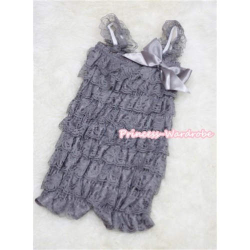 Grey Layer Chiffon Romper with Grey Bow & Grey Straps LR76