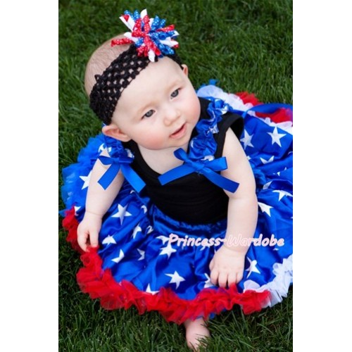 Black Baby Pettitop & Patriotic Star Ruffles & Royal Blue Bow with with Patriotic America Star Baby Pettiskirt NG404