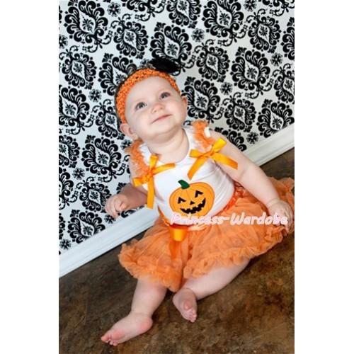 White Baby Pettitop With Pumpkin Print & Orange Ruffles & Orange Bows With Halloween Orange Baby Pettiskirt NS101