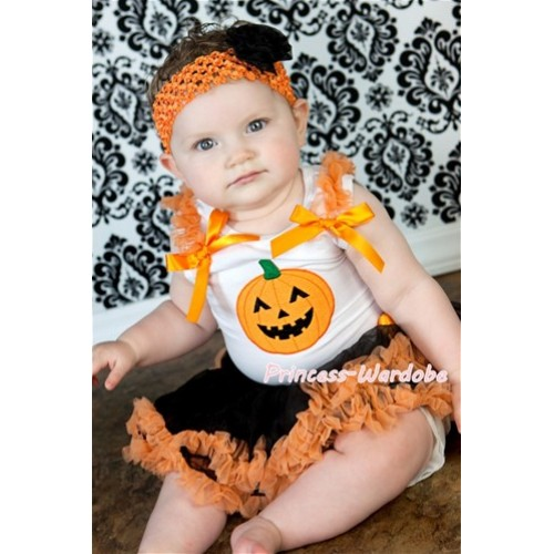 White Baby Pettitop With Pumpkin Print & Orange Ruffles & Orange Bows With Halloween Black Orange Baby Pettiskirt NS102