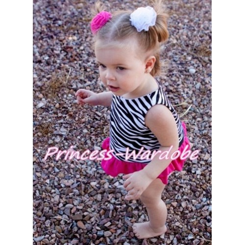 Hot Pink Zebra Panties Bloomers with Matching Zebra Tank Top CM06