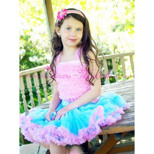 Blue Pink Pettiskirt with Matching Pink Ruffles Tank Tops MR03