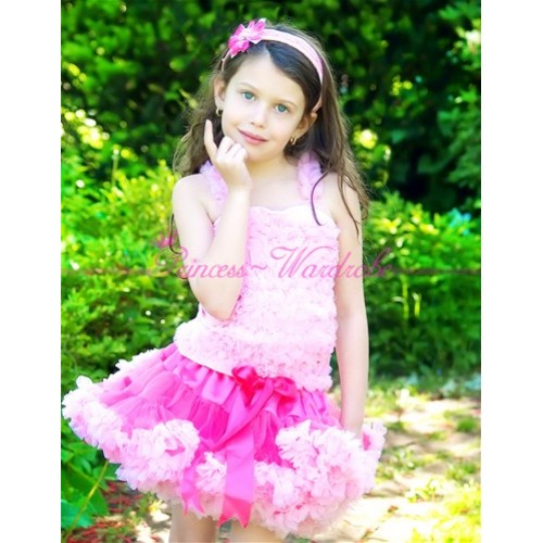 Bright Light Pink Pettiskirt with Matching Pink Ruffles Tank Tops MR05