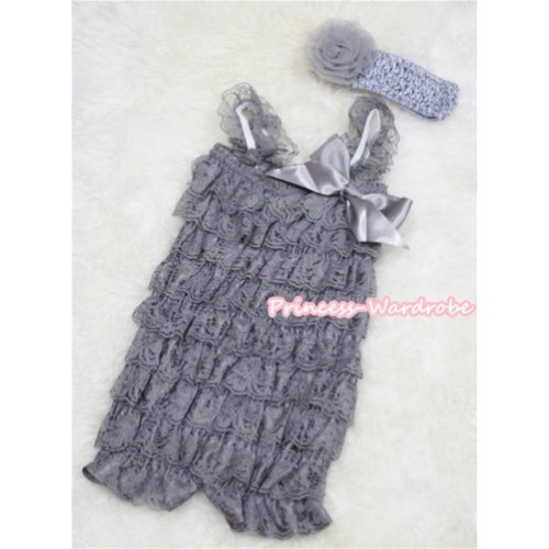 Grey Layer Chiffon Romper with  Grey Bow & Grey Straps with Grey Headband Set RH31