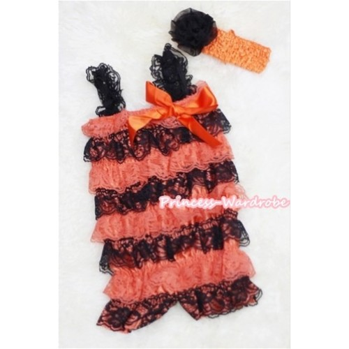 Orange Black Layer Chiffon Romper with Orange  Bow & Black Straps with Orange Headband Set RH33