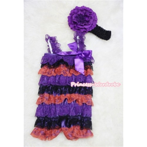 Purple Black Orange Layer Chiffon Romper with Purple  Bow & Purple Straps with Black Headband Set RH35