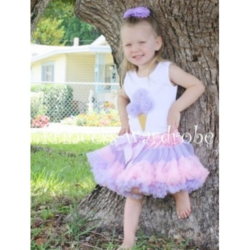 Light Purple Pink Multi-colored Pettiskirt With Lavender Ice Cream White Tank Top MS118