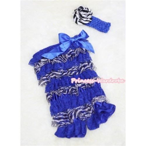 Zebra Royal Blue Layer Chiffon Romper with Royal Blue Bow with Royal Blue Headband Set RH42