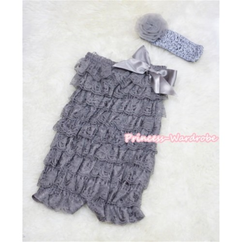 Grey Layer Chiffon Romper with Grey Bow with Grey Headband Set RH43