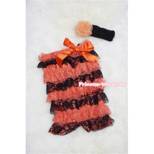 Halloween Orange Black Layer Chiffon Romper with Orange Bow with Black Headband Set RH46
