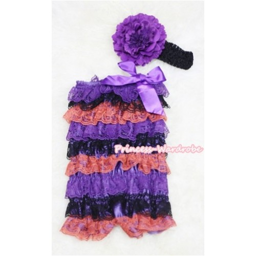 Halloween Purple Black Orange Layer Chiffon Romper with Purple Bow with Black Headband Set RH47