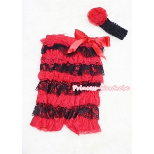 Xmas Red Black Layer Chiffon Romper with Red Bow with Black Headband Set RH49