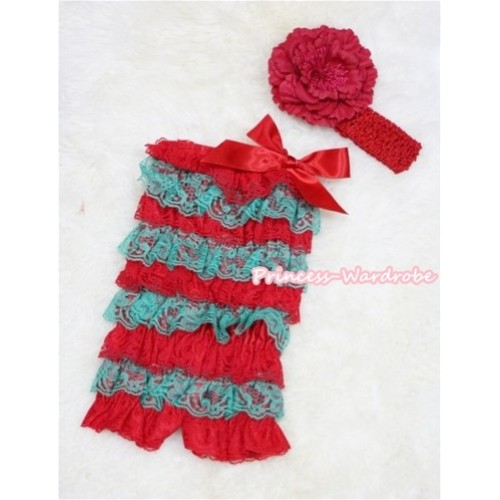 Xmas Red Green Layer Chiffon Romper with Red Bow with Red Headband Set RH51