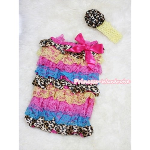 Rainbow Leopard Layer Chiffon Romper with Hot Pink Bow with Yellow Headband Set RH53