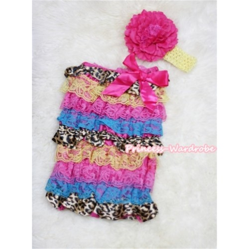 Rainbow Leopard Layer Chiffon Romper with Hot Pink Bow with Yellow Headband Set RH54
