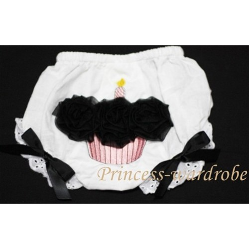White Bloomer & Cupcake & Black Rosettes BC36