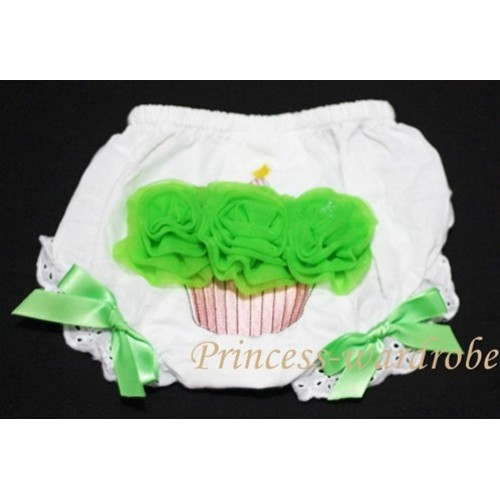 White Bloomer & Dark Green Cupcake BC45