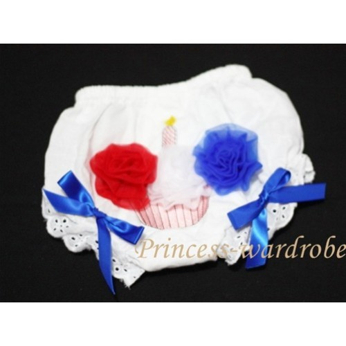 White Bloomer & Red White Blue Cupcake & Blue Ribbon BC47