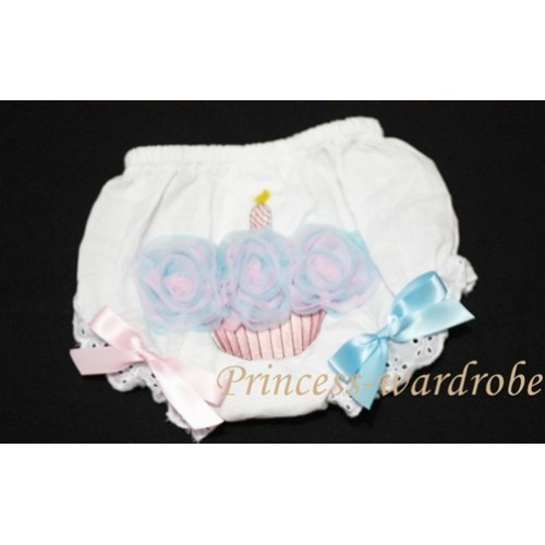 White Bloomer & Blue Pink MIX Cupcake & Blue Pink Bows BC48